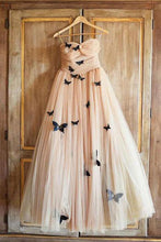 Load image into Gallery viewer, 2019 Prom Dresses | Champagne tulle sweetheart neck long A-line evening dress with butterfly