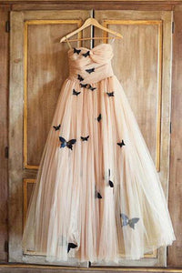 2019 Prom Dresses | Champagne tulle sweetheart neck long A-line evening dress with butterfly