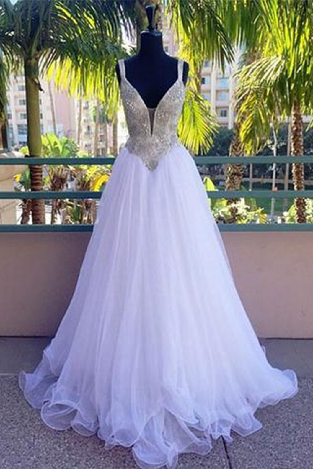 Sweet 16 Dresses | Stylish white tulle long sequins wedding dress, lace senior prom dress