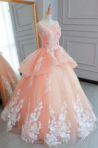 Sweet 16 Dresses | Pink tulle princess round neck long evening dress, long white lace flower prom gown