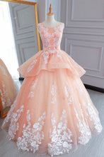 Load image into Gallery viewer, Sweet 16 Dresses | Pink tulle princess round neck long evening dress, long white lace flower prom gown