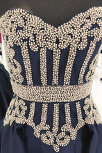 Load image into Gallery viewer, 2019 Prom Dresses | 2019 Navy blue satin sweetheart long A-line gold beaded evening dress, prom dress