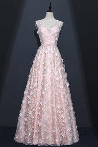 Sweet 16 Dresses | Unique pink tulle V neck long A-line prom dress, 3D flower beaded evening dress