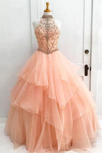 Load image into Gallery viewer, Sweet 16 Dresses | Gorgeous pink tulle high neck strapless open back long evening dress