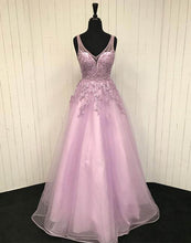 Load image into Gallery viewer, 2019 Prom Dresses | 2019 Pink tulle V neck lace appliqué long open back senior prom dress, pink beaded evening dress