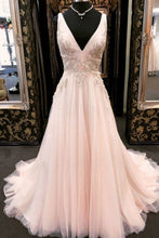 Load image into Gallery viewer, 2019 Prom Dresses | Blush pink tulle V neck long sweet 16 prom dress with lace applique