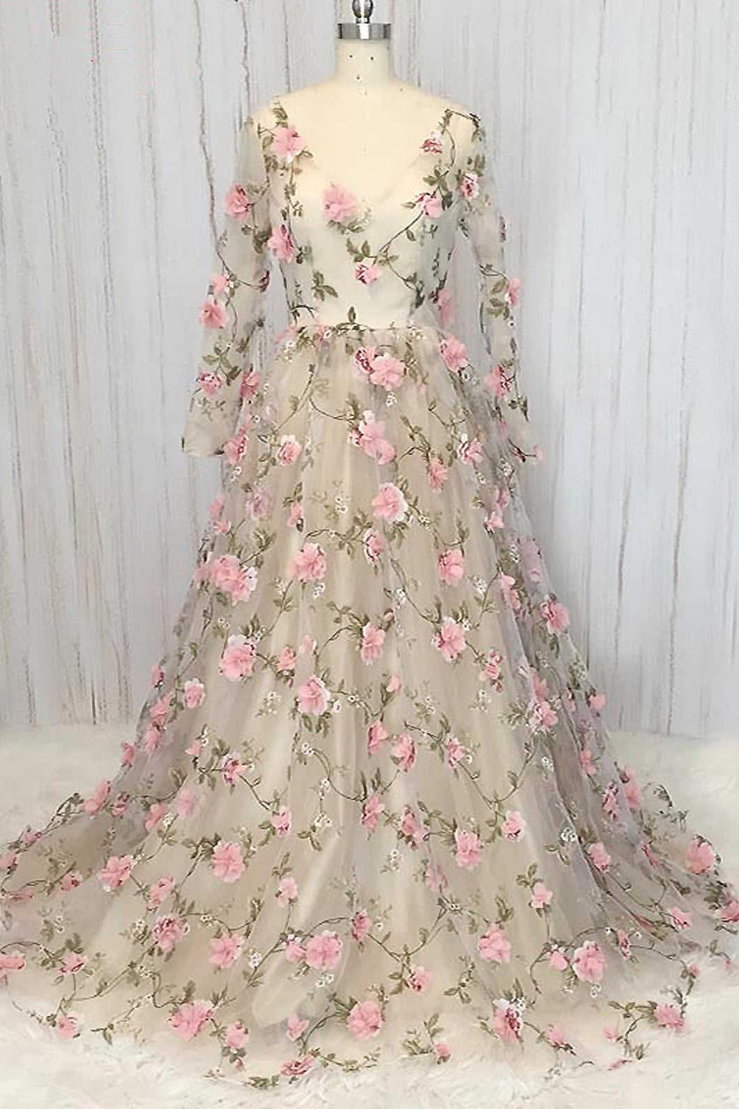 2019 Prom Dresses | Cute creamy tulle V neck 3D flower appliqué long senior prom dress, party dress with long sleeves