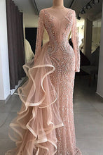 Load image into Gallery viewer, 2019 Prom Dresses | 2019 Gorgeous champagne pink long sleeves mermaid formal mother prom dress, evening dress with ruffles