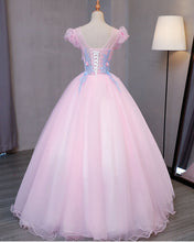 Load image into Gallery viewer, Sweet 16 Dresses | Special pink tulle V neck long prom gown with blue flower lace appliqués, puff sleeves winter formal prom dress