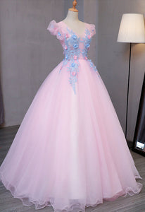 Sweet 16 Dresses | Special pink tulle V neck long prom gown with blue flower lace appliqués, puff sleeves winter formal prom dress