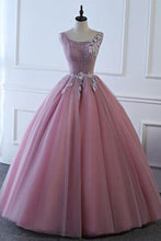 Load image into Gallery viewer, Sweet 16 Dresses | Pink tulle floor length senior prom dress with lace appliqués, long A-line halter evening dress