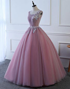 Sweet 16 Dresses | Pink tulle floor length senior prom dress with lace appliqués, long A-line halter evening dress