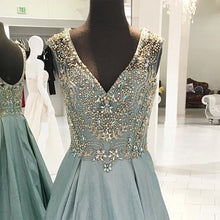 Load image into Gallery viewer, 2019 Prom Dresses | Blue gray satin long V neck senior prom dress, beaded open back evening dress