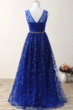 Load image into Gallery viewer, Sweet 16 Dresses | Royal blue lace long halter prom dress with gold belt