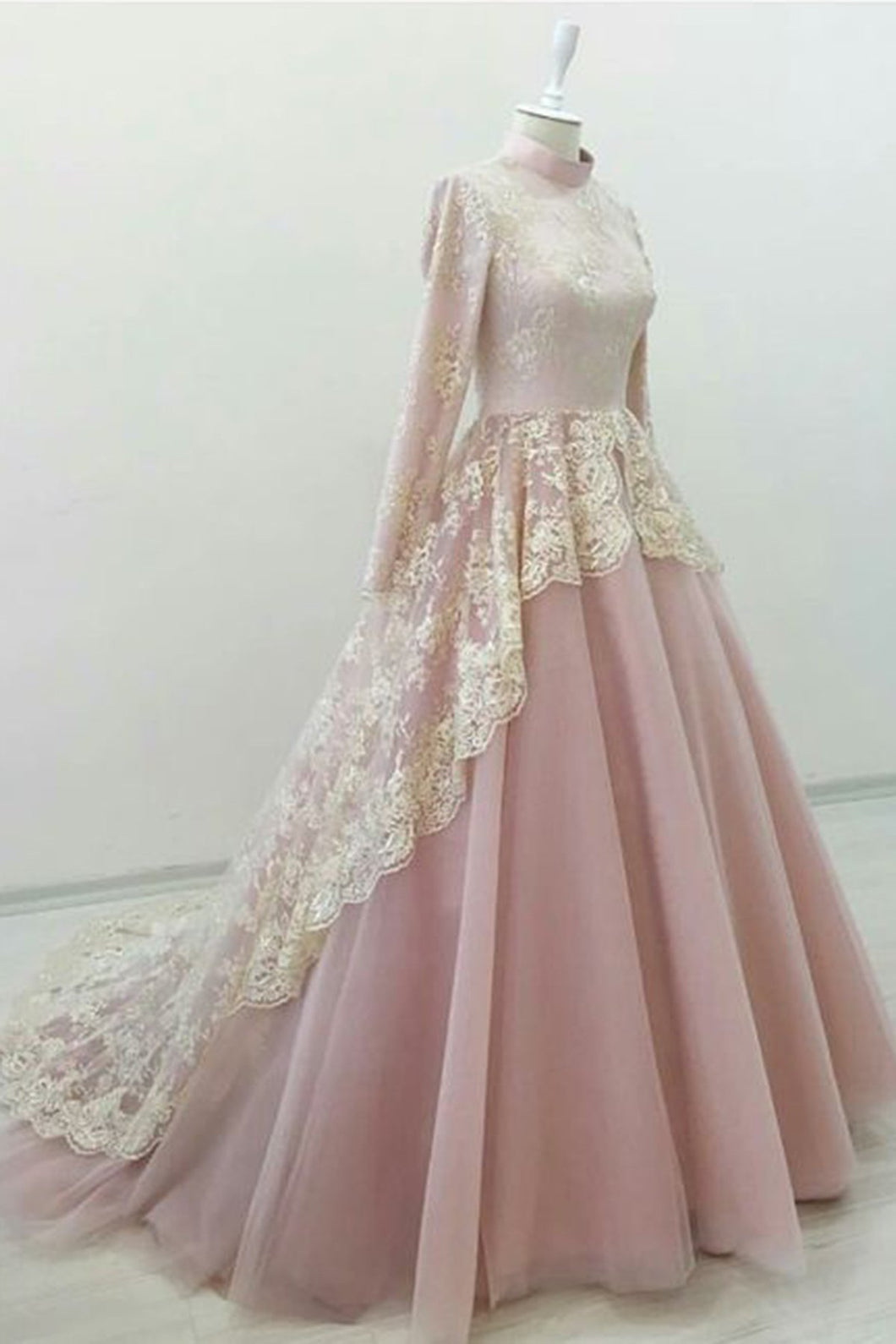 Sweet 16 Dresses | Pink tulle high neck court train evening dress with long sleeves
