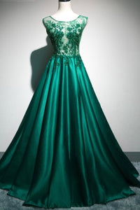 Sweet 16 Dresses | Deep green satin long lace top see through evening dresses, long halter winter formal prom dress