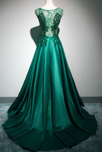Load image into Gallery viewer, Sweet 16 Dresses | Deep green satin long lace top see through evening dresses, long halter winter formal prom dress