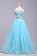 Load image into Gallery viewer, 2019 Prom Dresses | Baby blue organza round neck sequins A-line long prom dresses, cute graduation dresses