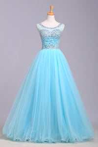 2019 Prom Dresses | Baby blue organza round neck sequins A-line long prom dresses, cute graduation dresses
