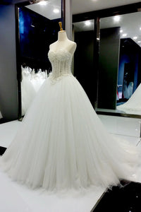 Sweet 16 Dresses | White organza sweetheart beading pearl A-line long prom dresses, wedding dresses