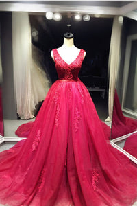 Sweet 16 Dresses | Red organza V-neck A-line lace long prom dresses, ball gown dresses
