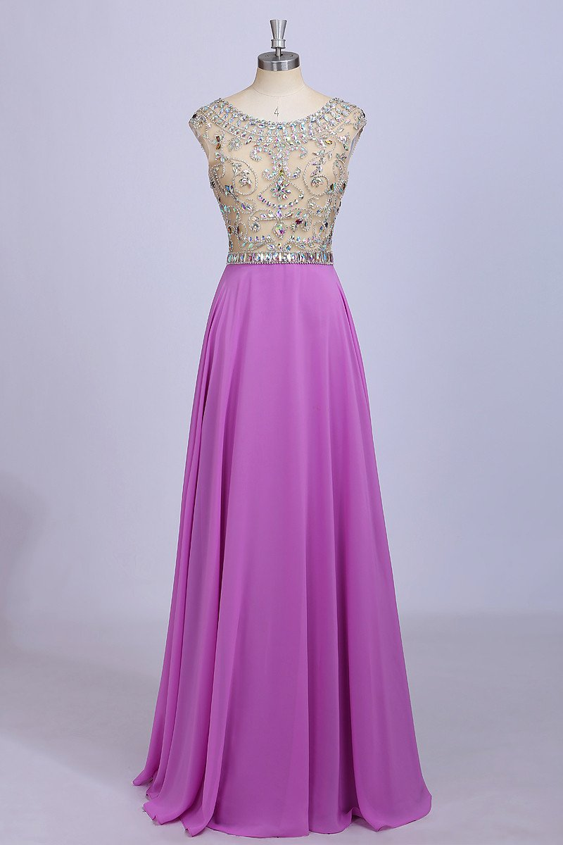 2018 evening gowns - Luxury lilac chiffon see-through rhinestone beading round neck A-line formal dresses,evening dresses