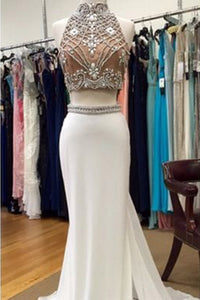 Sweet 16 Dresses | White chiffon two pieces rhinestone beading long evening dresses,junoesque prom dresses