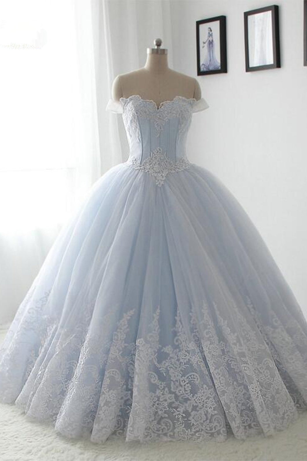 2018 evening gowns - Light blue organza lace sweetheart A-line long dress,princess ball gown dress