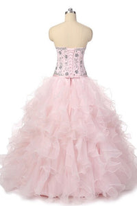 Sweet 16 Dresses | Princess pink organza sweetheart beading rhinestone A-line long prom dresses