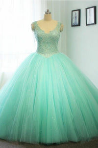 2018 evening gowns - Mint organza lace roundneck A-line long dress,princess ball gown dress