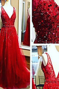 Sweet 16 Dresses | Red tulle lace V-neck sequins beaded open back A-line long prom dresses ,formaldress
