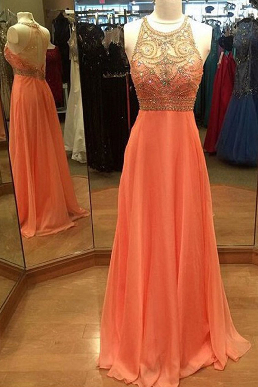 2018 evening gowns - Orange chiffon see-through beading rhinestone A-line long evening dresses