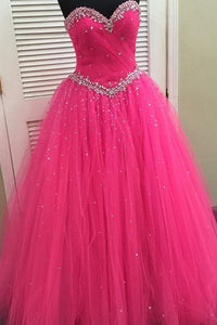 2018 evening gowns - Hot pink organza sweetheart sequins A-line long prom dresses, evening dresses for teens
