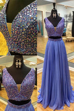 Load image into Gallery viewer, Sweet 16 Dresses | Royal blue chiffon V-neck sequins two pieces long dresses,formal dresses for teens