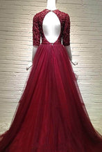 Load image into Gallery viewer, Sweet 16 Dresses | Wine tulle short sleeves sequins V-neck A-line long dresses,evening dresses for prom