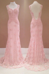 Sweet 16 Dresses | Pink organza lace applique  long dress,see-through homecoming dresses