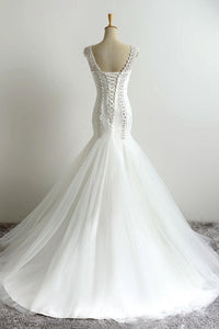 Sweet 16 Dresses | White organza beading see-through long dress, cap-sleeves mermaid train dresses