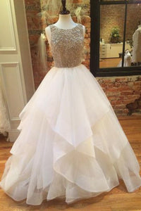 Sweet 16 Dresses | Princess white organza A-line round neck beading sequins long evening dresses