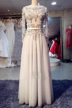 Load image into Gallery viewer, Sweet 16 Dresses | Ivory tulle long sleeves beading rhinestone long prom dresses,evening dresses
