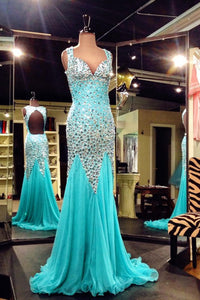 2019 Prom Dresses | Blue chiffon V neck beading long prom dresses, mermaid dresses