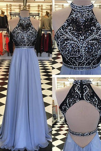 2018 evening gowns - Luxury chiffon round neck sequins beading backless long prom dresses, evening dresses