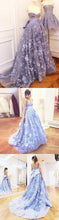 Load image into Gallery viewer, Sweet 16 Dresses | Elegant lavender 3D lace sweetheart neck sweep train evening dress with bowknot, long spring formal prom dresses