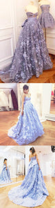 Sweet 16 Dresses | Elegant lavender 3D lace sweetheart neck sweep train evening dress with bowknot, long spring formal prom dresses