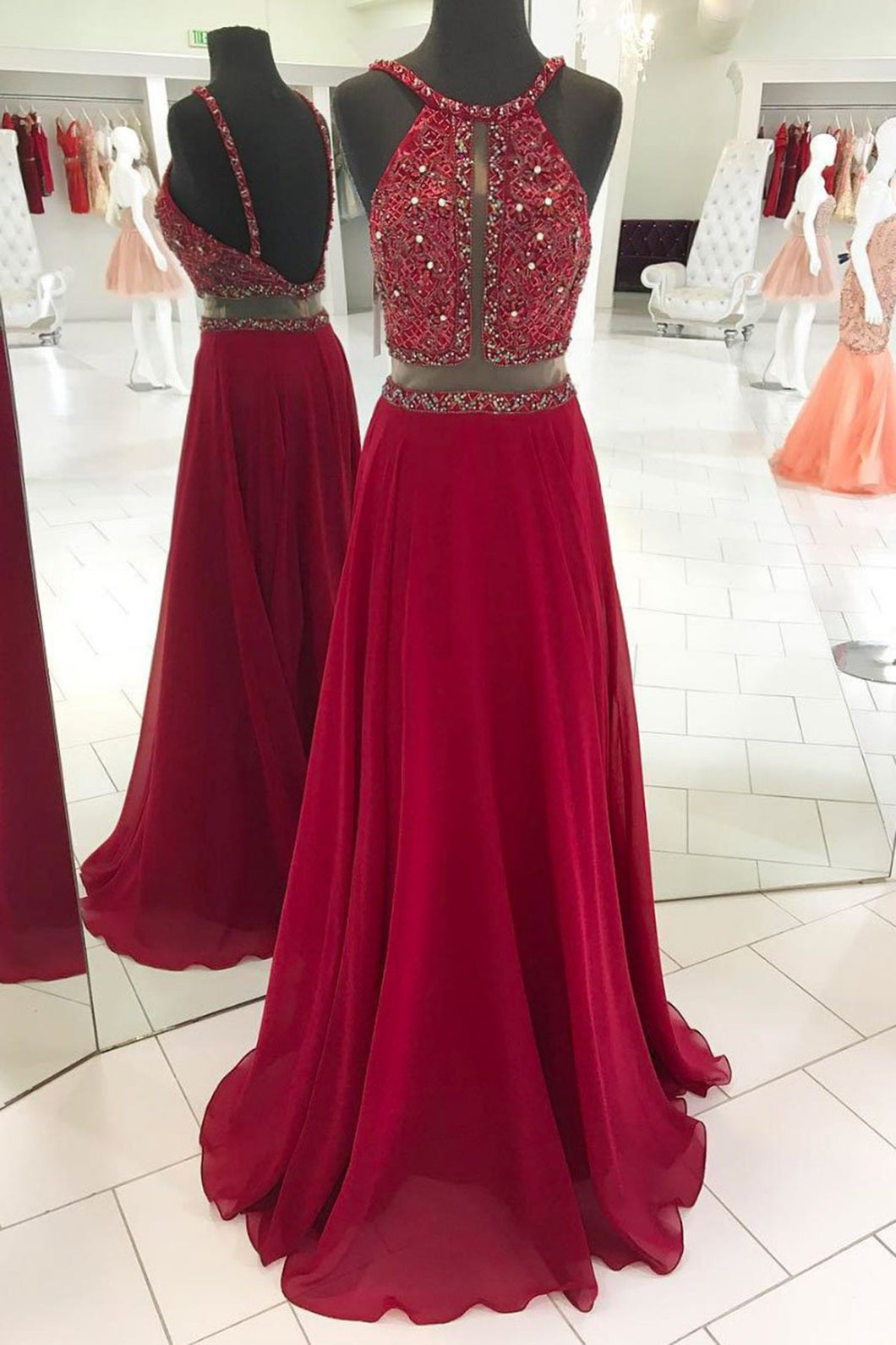 2019 Prom Dresses | Burgundy chiffon open back long see through long evening dress, strapless long prom dress