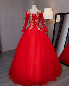 Sweet 16 Dresses | Stylish red tulle long evening dress with gold lace appliqués, long sleeves formal prom dress