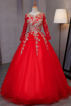 Load image into Gallery viewer, Sweet 16 Dresses | Stylish red tulle long evening dress with gold lace appliqués, long sleeves formal prom dress