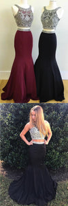 Sweet 16 Dresses | Elegant burgundy black satin two pieces silver beaded scoop neck long homecoming dress, long customize evening dress