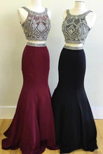 Load image into Gallery viewer, Sweet 16 Dresses | Elegant burgundy black satin two pieces silver beaded scoop neck long homecoming dress, long customize evening dress