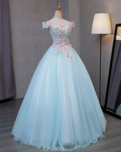Load image into Gallery viewer, Sweet 16 Dresses | Sky blue tulle princess off shoulder long formal prom dress, long strapless pink flower appliqués evening dress