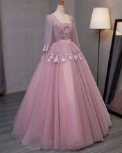 Load image into Gallery viewer, Sweet 16 Dresses | Smoking pink V neck long evening dress with appliqués, long sleeves lace up winter formal prom dress